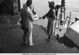 Hong Kong, American evacuees greeting each other during World War II
