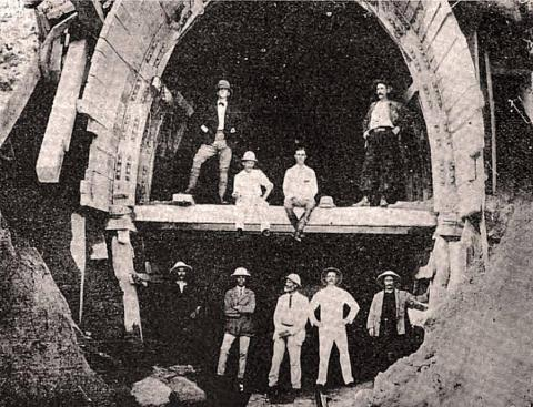 Engineering staff at Beacon Hill tunnel on Kowloon Canton Ry 1908
