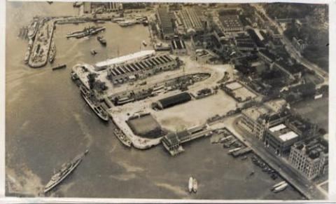 1930s Ship dock air view