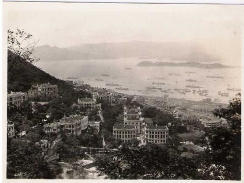 1931 - Norman E. Fields, view of mansions on Old Peak Rd and Hong Kong Harbour