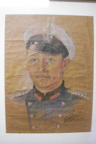 Portrait of RHJ Brooks in uniform, by AJ Savitsky in Stanley Prison Camp, 1942.