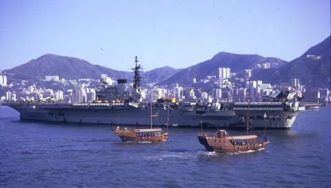 1966 Aircraft Carrier in Hong Kong harbour