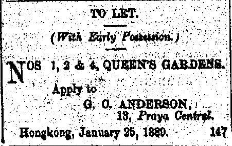1889 ad for Queen's Gardens