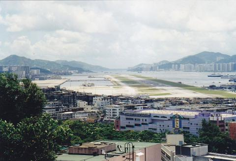 1998 Kai Tak Airport from Checkerboard Hill