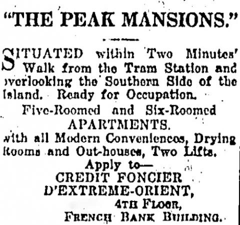 Peak Mansions advertisment 1928