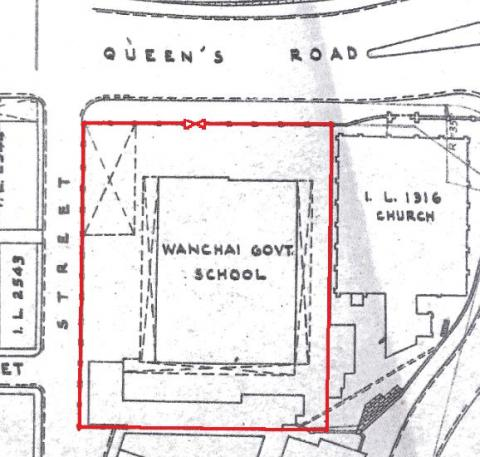 survey sheet showing old Wanchai School in 1958