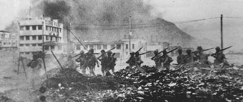 Japanese troops pass Duro Paint factory