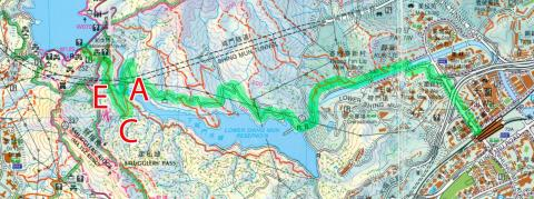 2013 map of lower Shing Mun reservoir