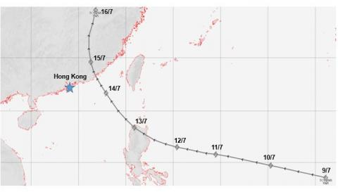 Track of the tropical cyclone from 9 to 16 July 1925 that affected the landslide at Po Hing Fong.