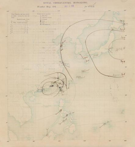 Weather chart at 1400 H on 14 July 1925.