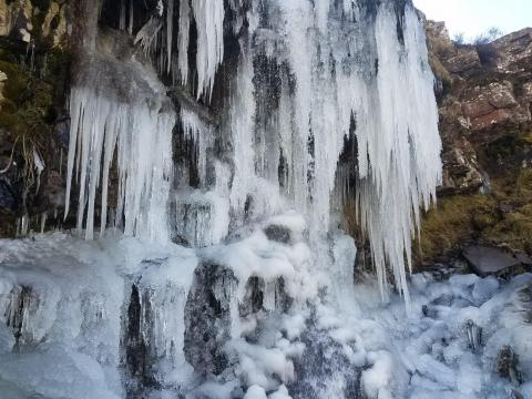 Frozen waterfall in the Brecon Beacons