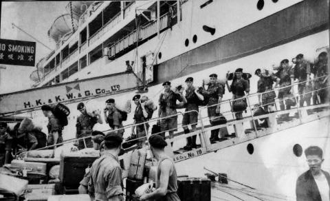 National Servicemen arrive in Hong Kong 1957.