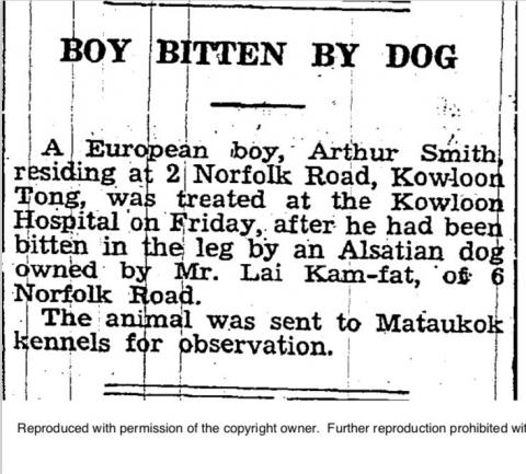 Lai Kam Fat's dog - SCMP - 5 Dec 1938