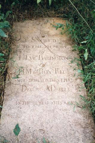 Grave of LT. EWD. Babington - Died 28.12.1823
