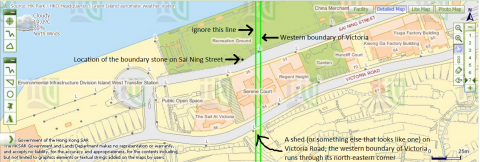 City boundary of Victoria intersects Victoria Road and Sai Ning Street