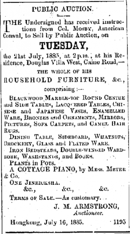 Col Mosby Douglas Villa West China Mail, page 2, 16th July 1885.png