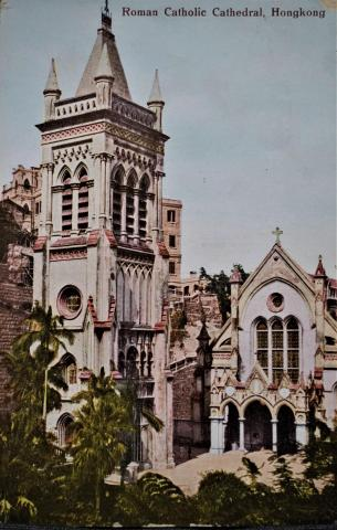 Colored postcard of C.1920s Roman Catholic Cathedral