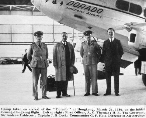 "The flight crew of Imperial Airways aircraft ""Dorado"" with the Governor"