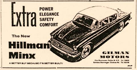 GILMAN MOTORS-Hillman Minx-Extra Power Elegance, Safety and Comfort