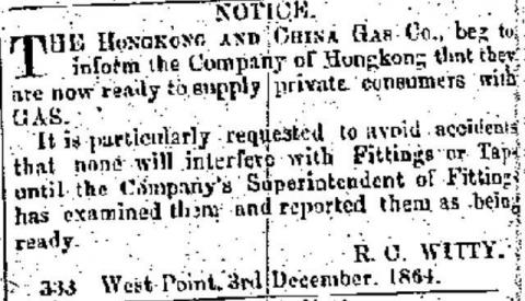 1865 Hong Kong & China Gas Co. - Notice to Supply Gas to Residents