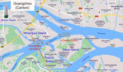". Modern-day map of Guangzhou showing the site of the ""Whampoa"" anchorage,"