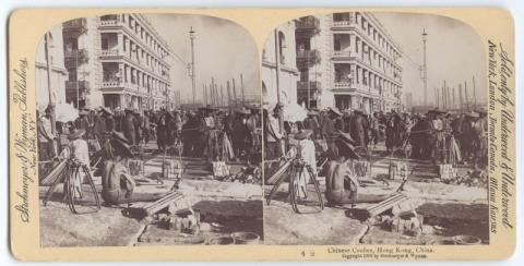 "1896 Stereoview: ""Chinese Coolies, Hong Kong, China"""