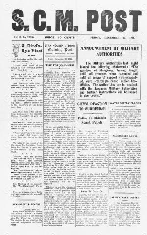 Hong Kong-Newsprint-SCMP-26 December 1941-pg1.jpg