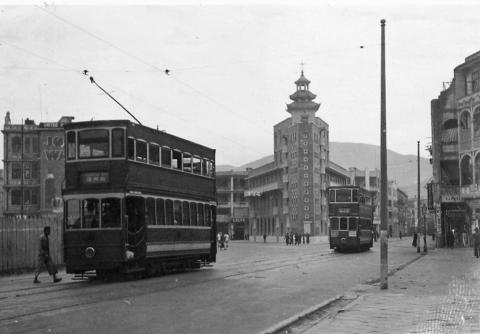 Trams at the Chinese Methodist Church 1936