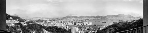 View of Cheung Sha Wan, Sham Shui Po, West Kowloon and harbour. 1971.