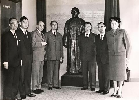 The unveiling of the Yu To Sang statue,Yu To Sang Memorial School, Bonham Road, 28th March 1961.