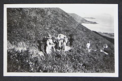 Being carried to the top of Lantau Island