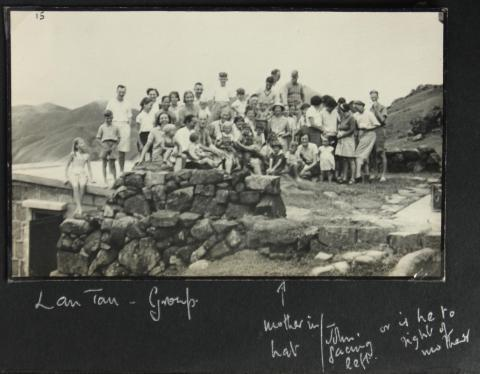 Group photo of holidaymakers staying in huts belonging to missionary societies on northern ridge of Lantau 1
