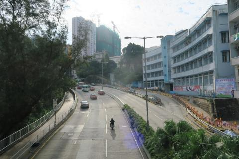 View up Chai Wan Road towards Salesian Missionary House