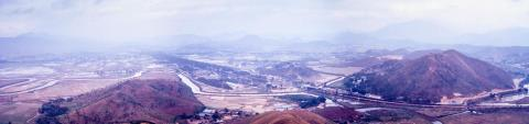 View of Lo Wu border crossing and Shenzhen, from Tai Shek Mo. Early 1971.