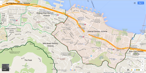 Map of Central District, Victoria, Hong Kong