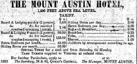 1892 Mount Austin Hotel - Rates for Board & Lodging