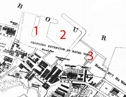1905 map of the Naval Yard Extension