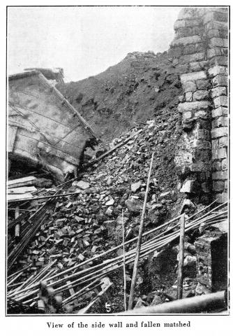 Po Hing Fong Landslip Disaster -1925 - View of the collapsed retaining wall