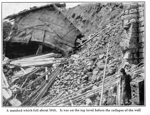 Po Hing Fong Landslip Disaster -1925 - Matshed which had fallen 50 ft.
