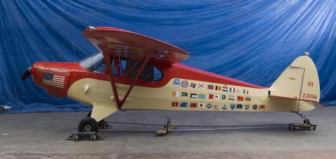 Piper Cub-Round the World fliers-visited Hong Kong 1947-now in NASM Washington