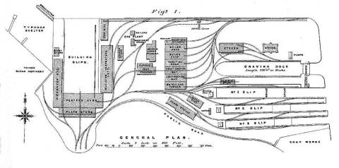 Plan of Taikoo Dockyard - At  time of Construction