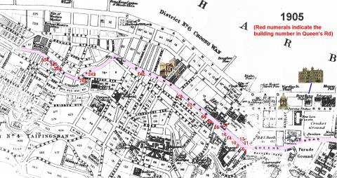 Queens Road Central - Map indicating building numbers 1905