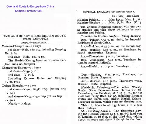 Rail Fares & Travel Times China - Europe in 1909