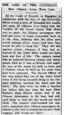 Lienshing Sinking - Naval Enquiry - Loss of Life