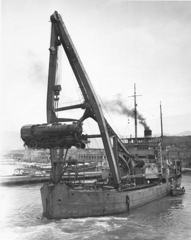 Unloading Locomotives in Hong Kong Harbour