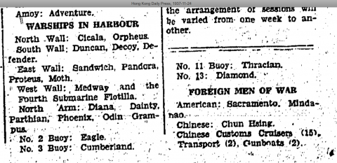Warships in harbour Hong Kong Daily Press Page 14 24th November 1937.png