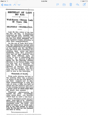 Lady Ho Kai - 60th birthday - SCMP - 14 Jan 1931