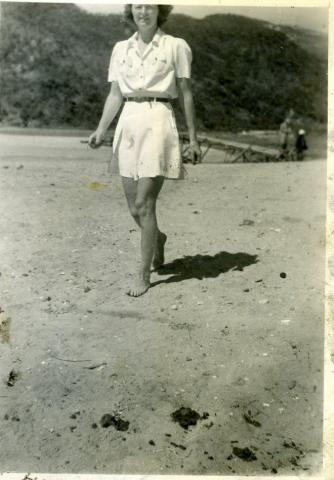 Elva Jo Nelson Paget on beach
