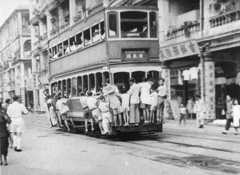 Hitching a ride on a tram