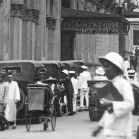Taxis and rickshaws outside the Hong Kong Hotel (p.44)